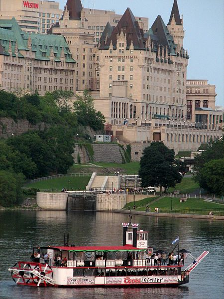 Canada: Ottawa, Ontario - the Ottawa River boat tours - just below the locks, the Col. By museum and the Chateau Laurier (above) where great internationally renowned portrait photographer Yosuf Karsh made his home for many years before heading to N.Y.. -MR