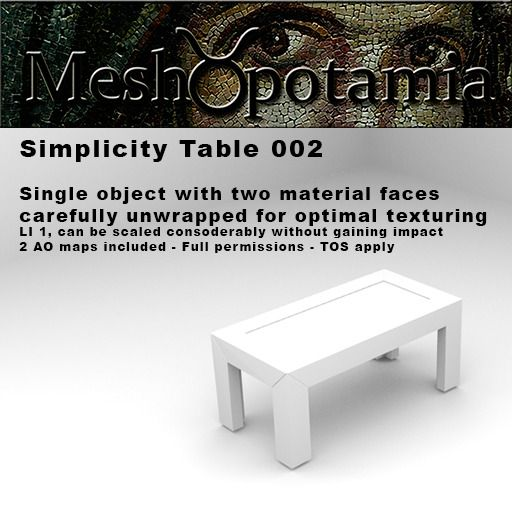 Meshopotamia Simplicity Coffee table 002 w AO Textures