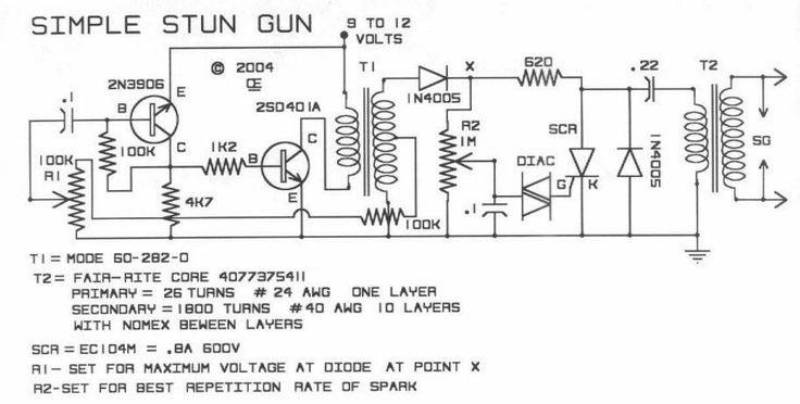 this is a diy simple stun gun circuit schematic