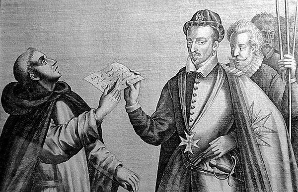 Гравюра Генрих III и Жак Клеман.Музей в Шантильи,Франция. В нач.весны 1589г. Франция,по кот.прокатилась волна мятежей от Марселя до Кале,оказалась разделенной на три части:одна в руках протестантов,другая в руках Лиги,а третья (состоявшая только из Тура,Блуа и Божанеи) на стороне короля.Генрих III понял,что ему необходимо объединиться с одним из своих противников,3 мая король Генрих и Генрих Наваррский в Плессиле -Тур заключили перемирие.