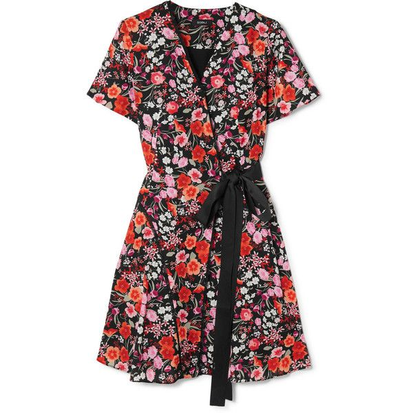 Goen J Lace-trimmed floral-print crepe de chine wrap mini dress found on Polyvore featuring dresses, floral print wrap dress, multi coloured dress, floral wrap dress, floral print dress and short dresses