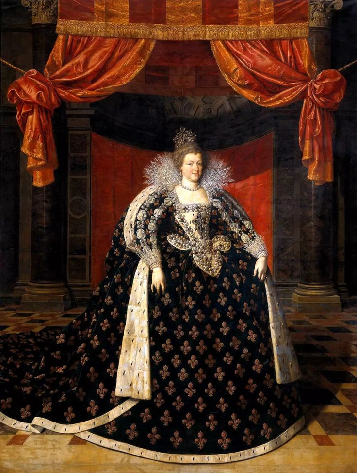 Marie de Médicis, reine de France et de Navarre, en grand costume royal, par Frans Pourbus II.(younger) (1569–1622)-flemish painter