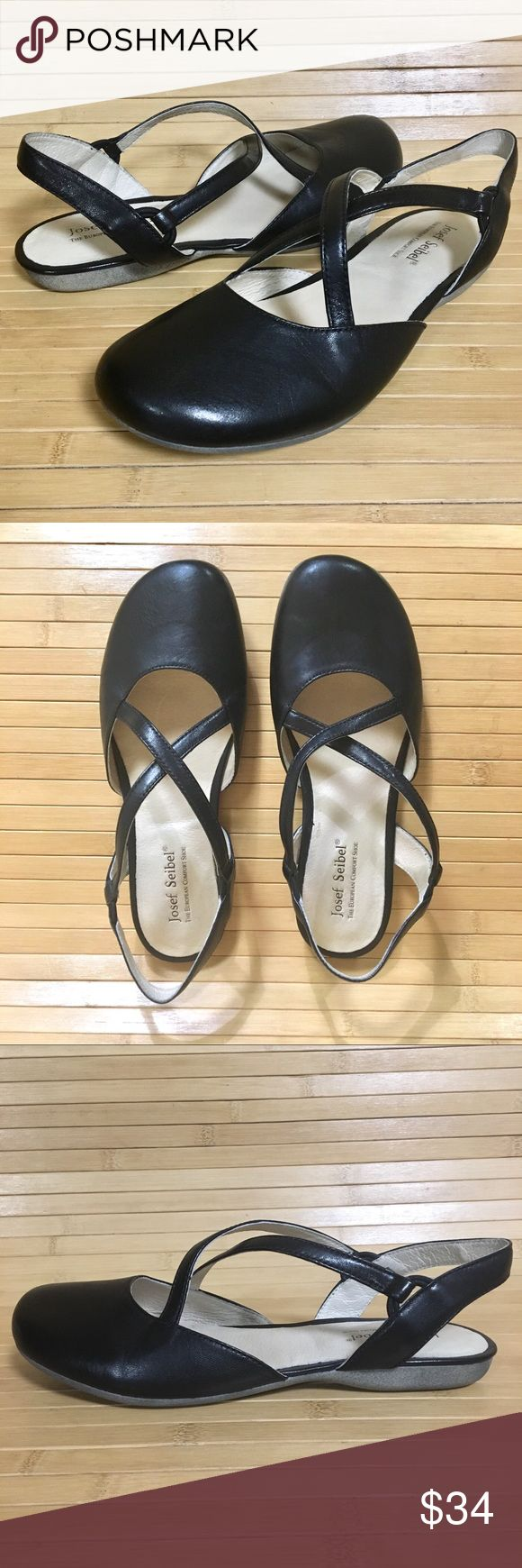 Josef Seibel 38 Ankle Strap Black Leather Josef Seibel 38 Criss Cross Ankle Strap Flats Black Leather Germany Excellent Condition Josef Seibel Shoes Flats & Loafers