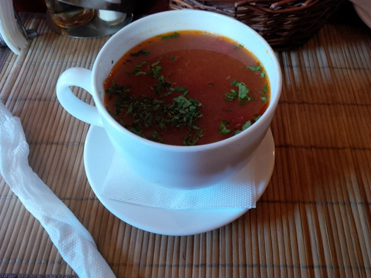 Beef Sour Soup (tender Black Angus beef boiled with vegetables and fresh borsch, house recipe) @ Restaurant La Mama