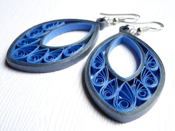 Unique Blue Gray Earrings / Fashion Jewelry / Handmade Boho Earrings / Quilled…