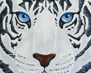 Social Artworking Canvas Painting Design - White Tiger