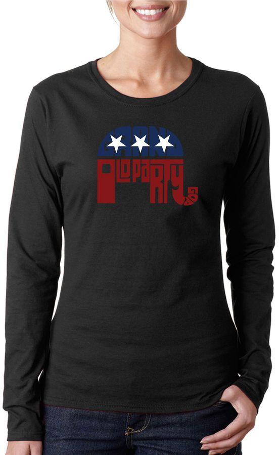 LOS ANGELES POP ART Los Angeles Pop Art Republican - Grand Old Party Women's Long Sleeve Word Art Graphic T-Shirt