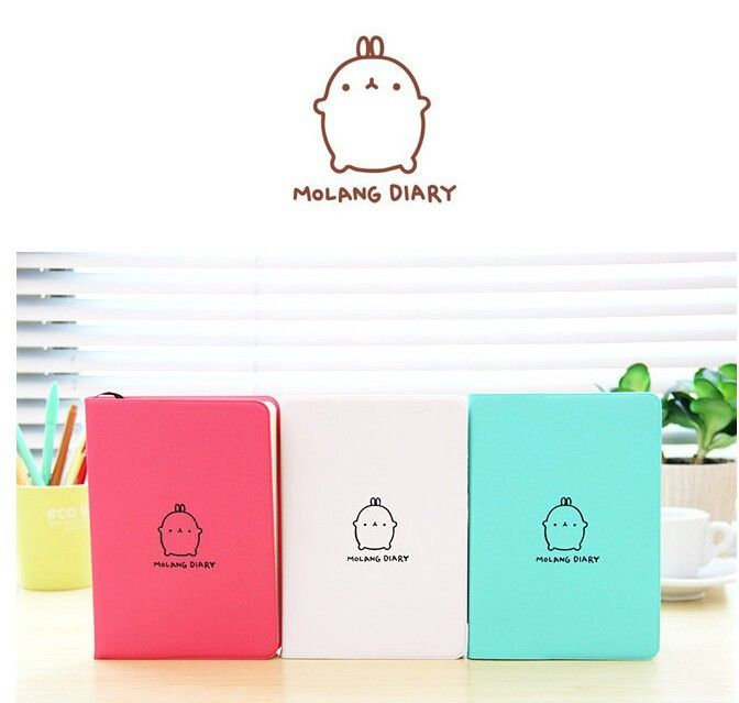 2015-2016 Cute Kawaii Notebook Cartoon Molang Rabbit Journal Diary Planner Notepad for Kids Gift Korean Stationery13