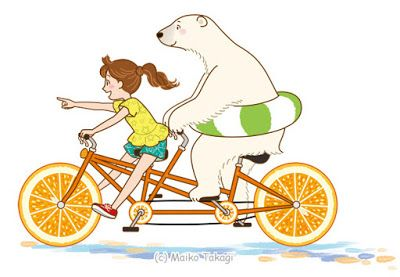 貴木まいこのイラストとか。: 子供と動物のイラスト:サイクリング