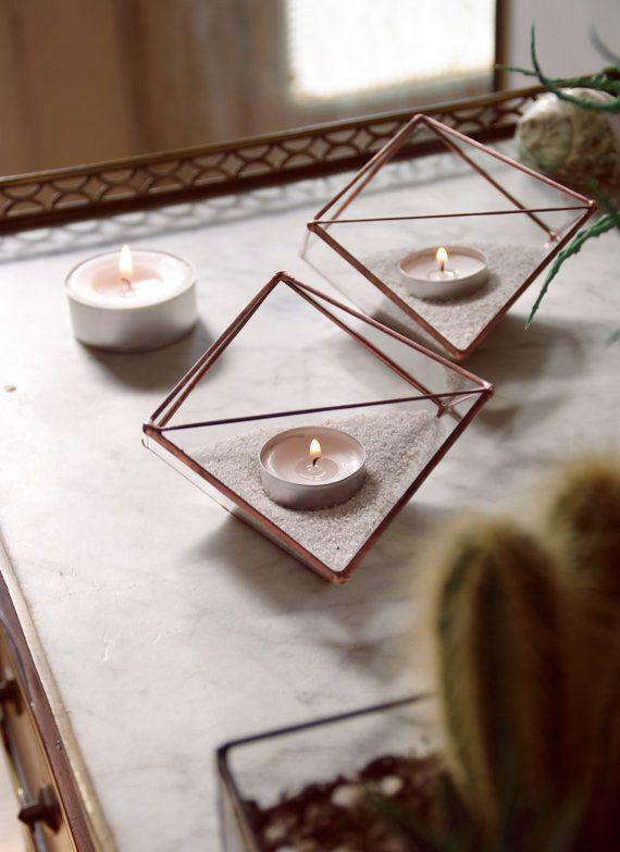 Photophores géométriques en verre. Géométrie par AlexaWorkshop
