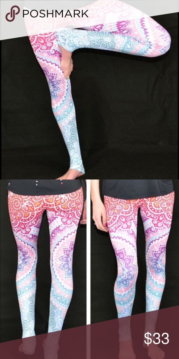 """MANDALA HIGH END QUALITY LEGGINGS Anything but basic.   MANDALA Leggings that are EVERYTHING you want in leggings-- soft and comfortable and UBER Trendy.  So refresh your practice and get even more excited about your workout in these gorgeous new leggings, same quality as high end leggings at a fraction of the cost.   ONE SIZE FITS COMFORTABLY 0-10 88% poly, 12% spandex length 36"""" Pants Leggings"""