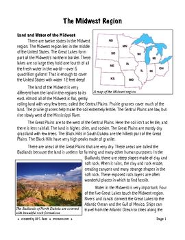 Five Regions Of The United States Midwest Region 3rd Grade Standard