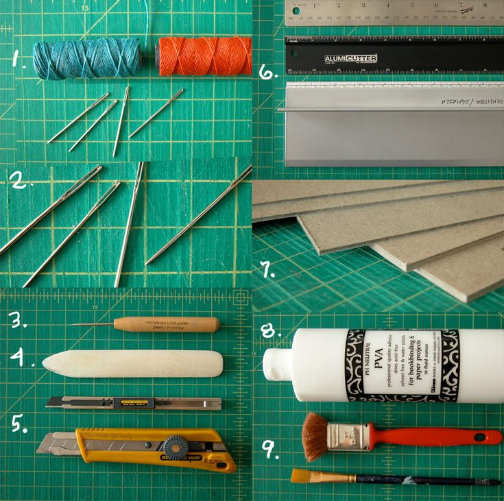 list of basic bookbinding tools via erinzam's blog