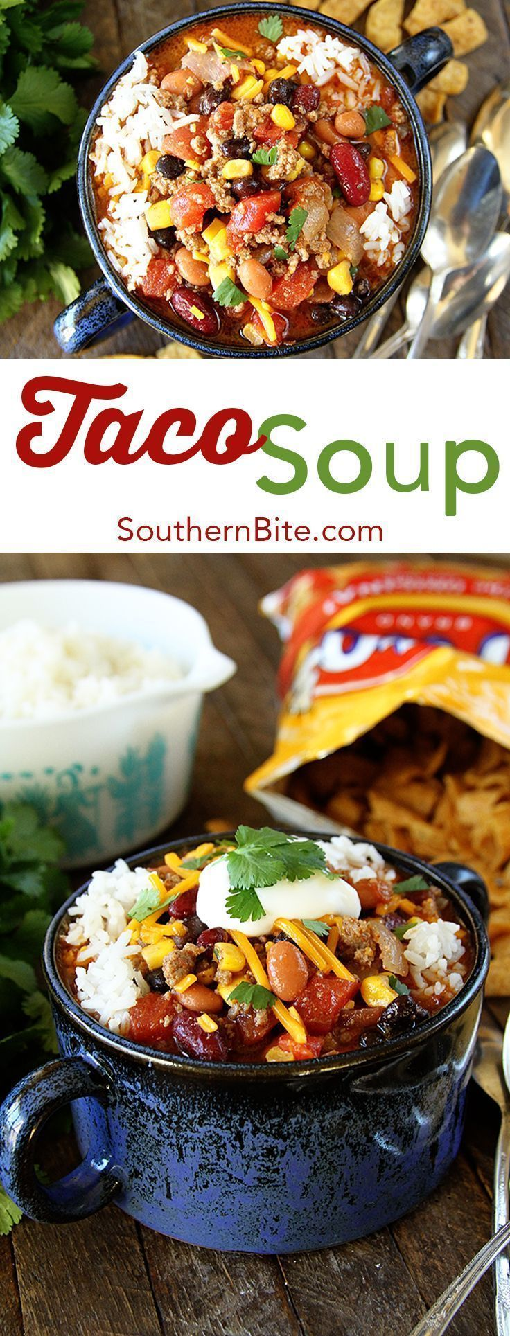 It seriously couldn't get any easier than this Taco Soup! If you can brown beef, you can totally make this! And it's PACKED with flavor!