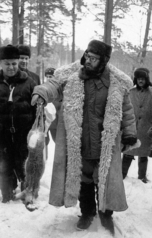 Cuban Leader, Fidel Castro hunting in Russia, January 1964.