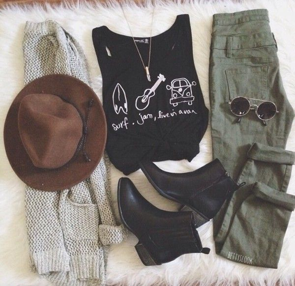 long sleeve black shirt, army green jeans, community wrap sweater, black booties