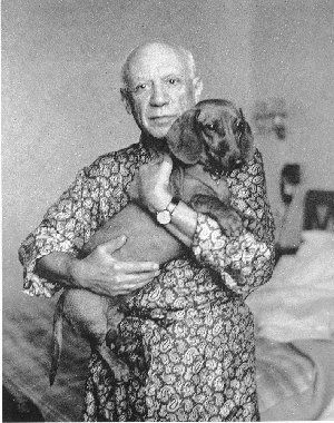 Picasso with his Dachshund.