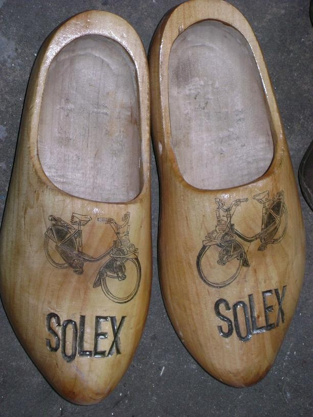 Solex advertisement on these wooden shoes.