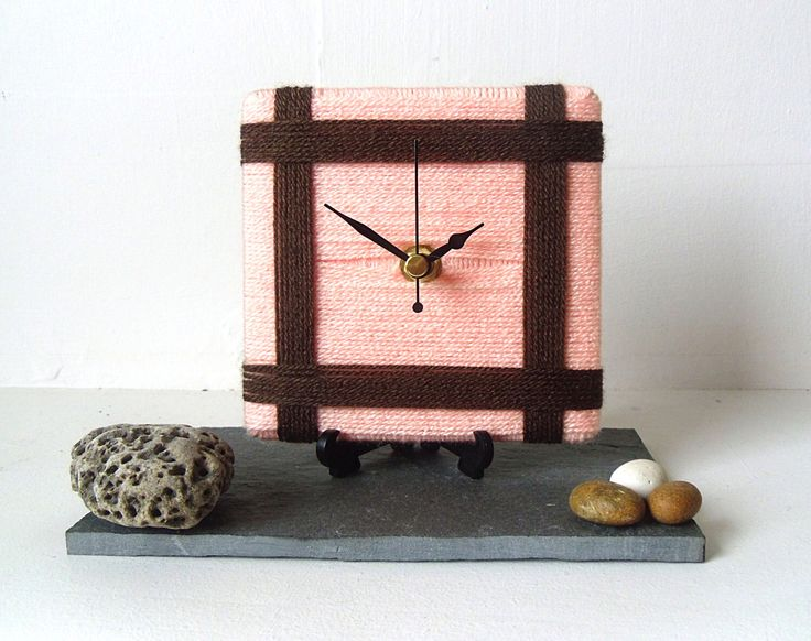 Wool Desk Clock / Small Wall Clock Peach and Brown Chocolate Yarn by NaturalClocks on Etsy https://www.etsy.com/listing/192102902/wool-desk-clock-small-wall-clock-peach
