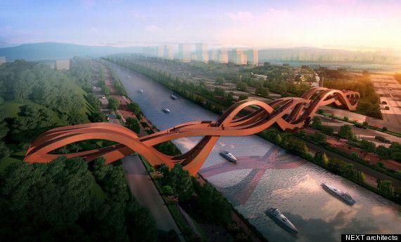 ce pont s'élèvera à près de 25 mètres au-dessus du Meixi Lake chine