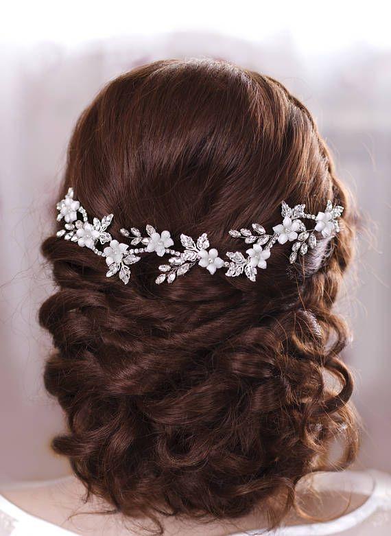 Bridal Hairstyles Inspiration : Bridal Hair Jewelery Crystal headband Bridal hair flowers