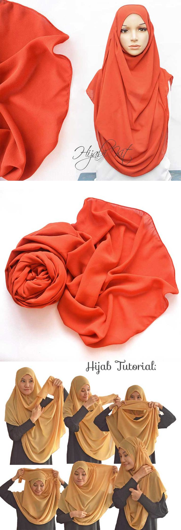 Orange Chiffon Instant Shawl 2 Loops. Get it at hijabikit.com #hijab