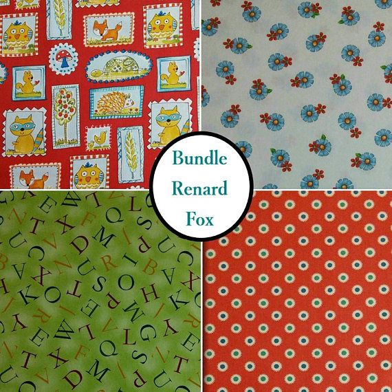 4 motifs Renard Fox renard fond rouge alphabet fleur