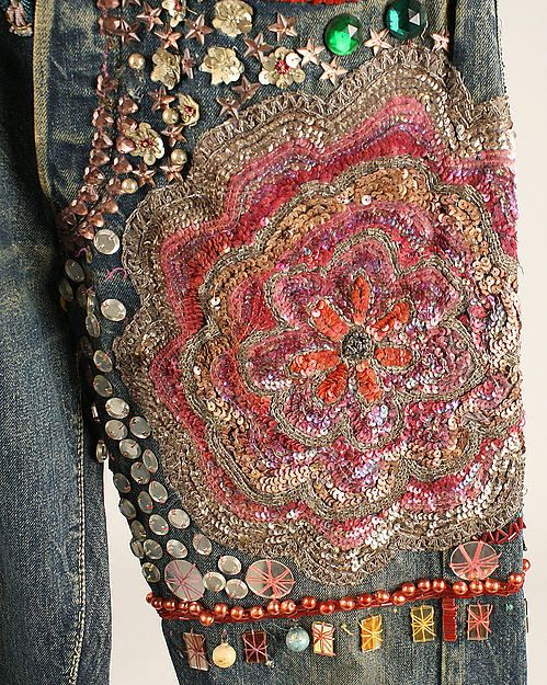 Beaded jeans from the late '60s/early '70s. Via the collection of the Metropolitan Museum of Art. #denimhistory
