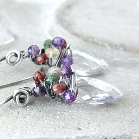 Cubic Zirconia  And Multi Gemstone Earrings  Oxidized Silver Multi Colored  Gemstone  Jewelry Handmade Wire Jewelry  Wire Wrapped
