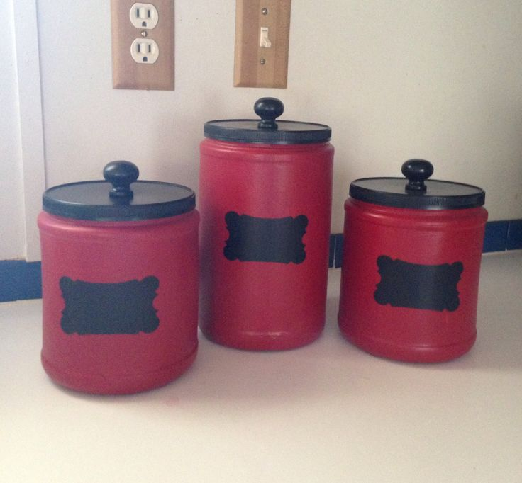 Upcycled plastic Folger's coffee cans and made beautiful canisters.  By Upcycled_Diva