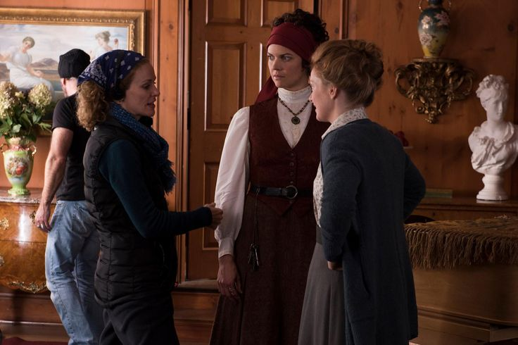 """Director Leslie Hope sets up the scene with Elizabeth Whitmere (""""Athena/Clarissa"""") and Alex Paxton-Beesley (""""Freddie Pink"""")."""