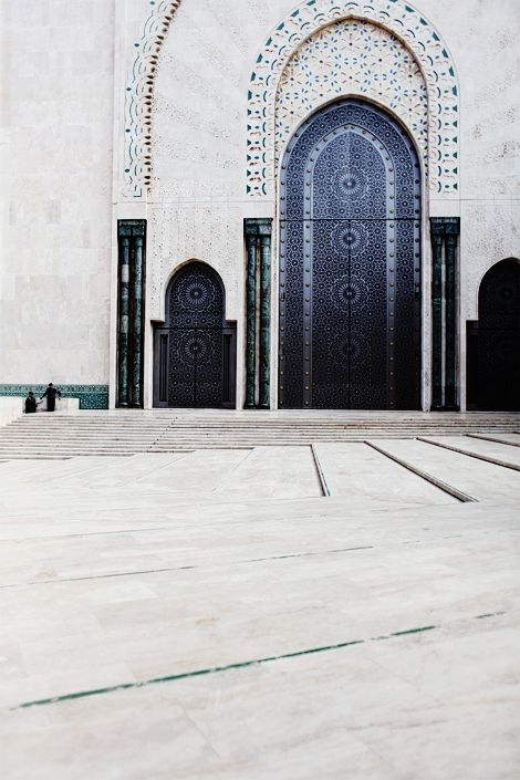 Hassan II Mosque, Casablanca, MoroccoThe Doors, Blue Doors, Colors, Arches, Casablanca Morocco, Black White, Travel, Places, Architecture