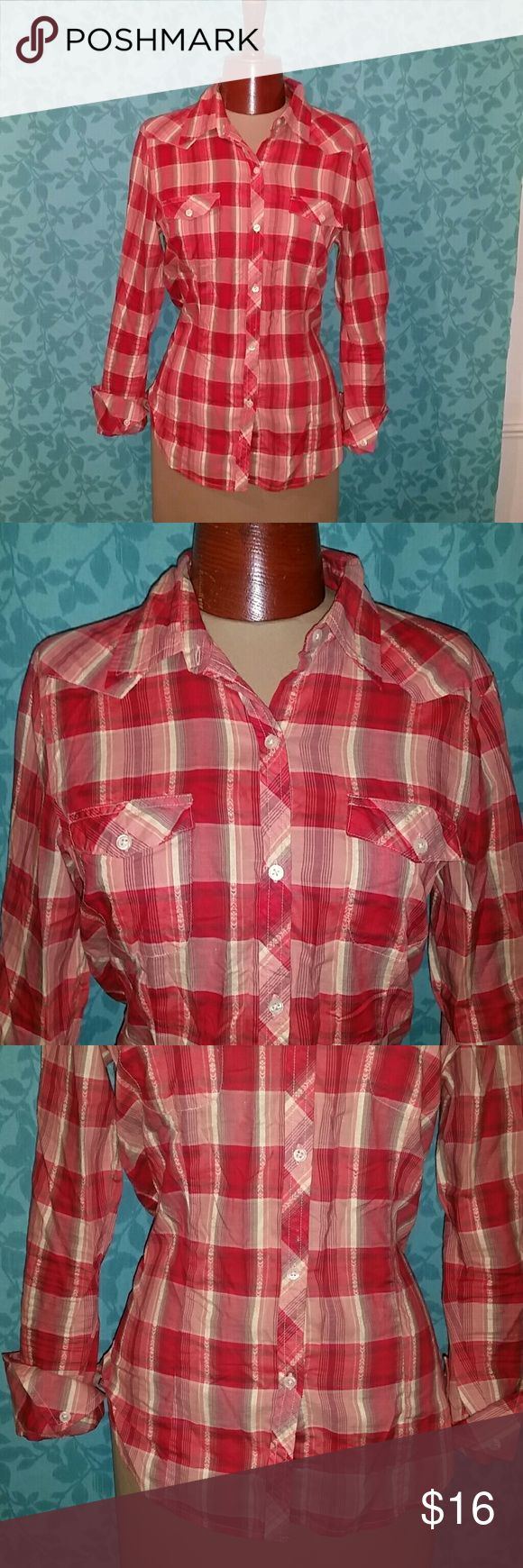 """American Eagle Button Up Shear Cowgirl Shirt Plaid This is for a beautiful red and yellow shear button up shirt by American Eagle. The size is medium and it is made of 100% cotton. Ivory Pearlized buttons with buttons at the cuffs. Front chest pockets. It is in great pre owned condition with no stains, holes, or odors. Smoke free home. Measures: across armpits: 19"""", across shoulders: 15.75"""", shoulder to bottom of sleeve: 24"""", length: 24.5"""" American Eagle Outfitters Tops Button Down Shirts"""