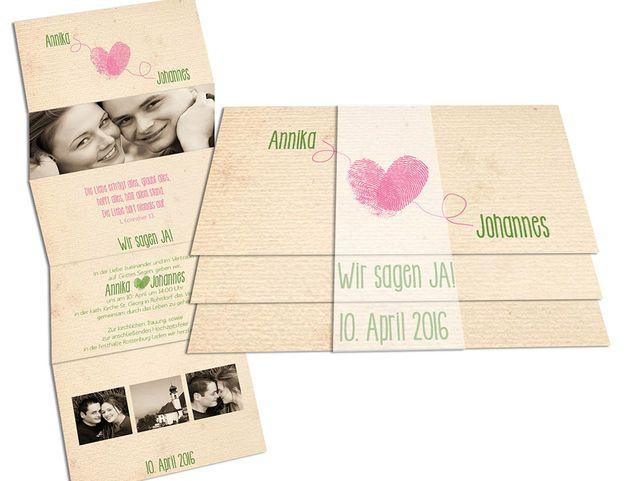 #Hochzeitseinladungen mit Foto - Wir liabn´uns! Besonders süß mit den eigenen Fingerabdrücken in Herzform!