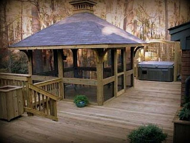 25 best ideas about screened gazebo on pinterest for Deck with gazebo