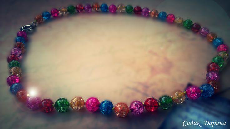 """Очень красивые бусы из """"кварца"""" с разноцветными бусинами диаметром 8 мм. имеют очень насыщенные цвет и украшают обладательницу http://vk.com/club70390712"""