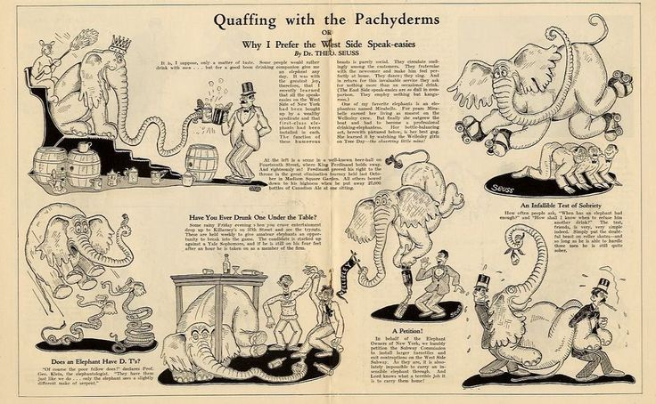 DR. SEUSS SPEAKEASY DRUNK ELEPHANT QUAFFING WITH THE PACHYDERMS SOBRIETY TEST