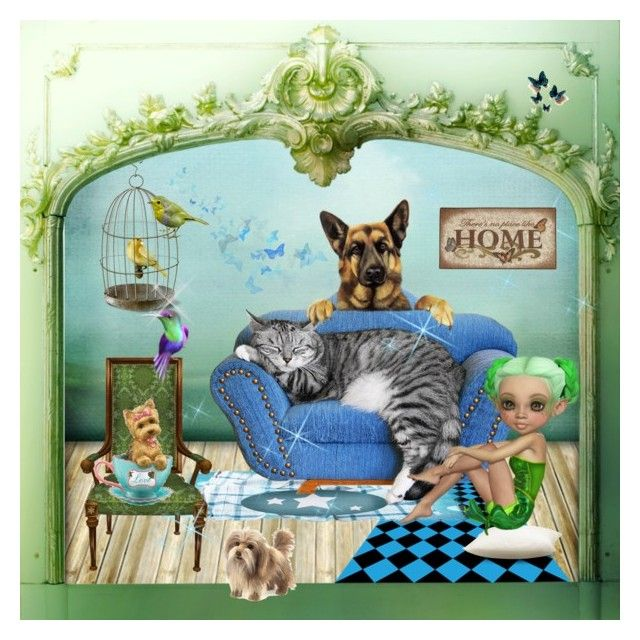 """""""♥ Pet Corner ~ Home Sweet Home"""" by catfabricsandbuttons ❤ liked on Polyvore featuring art"""