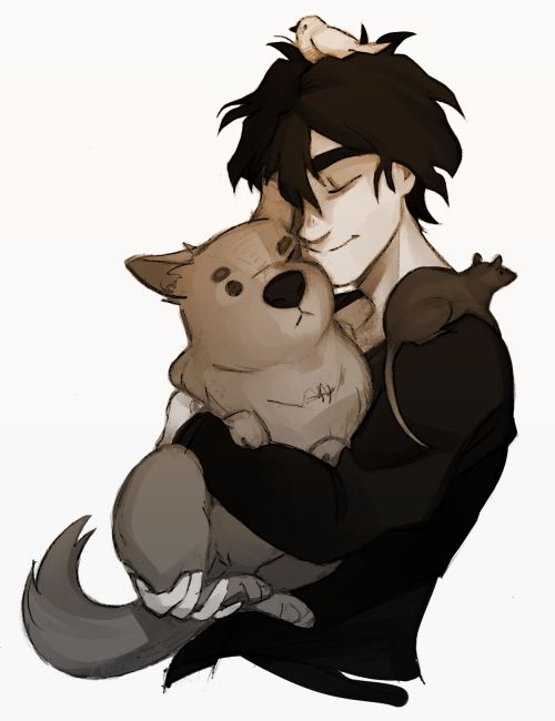 Headcanon Nico adores animals and has a lot of pets. Only Hazel Reyna and Will know