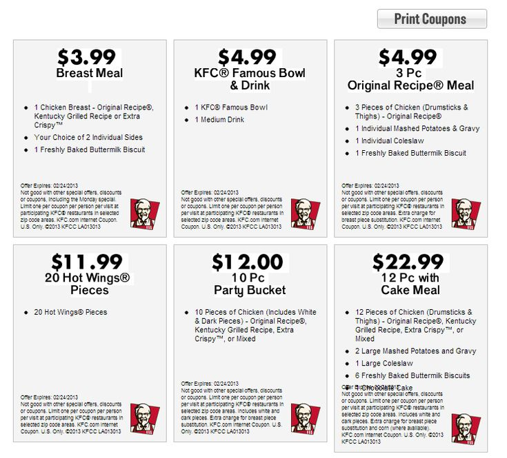 Current KFC Coupons March 2013 | KFC Printable Coupons 2013 | So Many Discounts