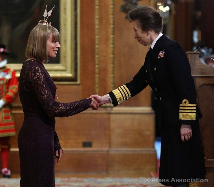 Mrs Kate Richardson-Walsh from Maidenhead is made an MBE (Member of the Order of the British Empire) by The Princess Royal at Windsor Castle, 14 July 2015