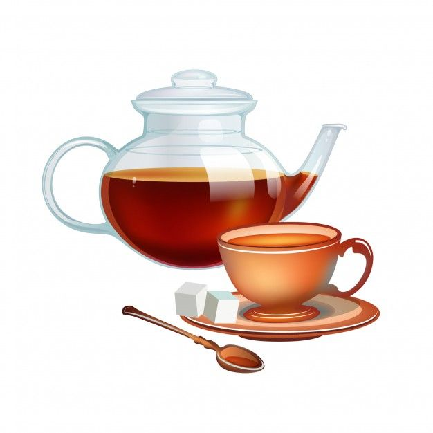 Tea pot and tea cup illustration Premium Vector