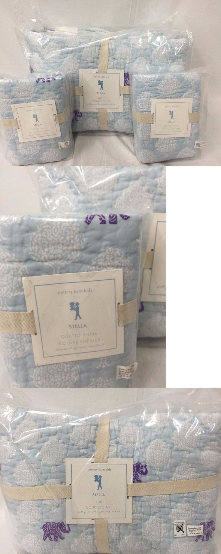 Kids Bedding: New Pottery Barn Kids Stella Elephant Full/Queen Quilt And 2 Standard Shams BUY IT NOW ONLY: $158.36