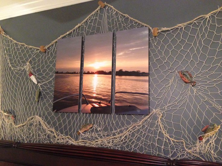 Boat themed bedroom i took the picture went to walmart for Fishing nets walmart