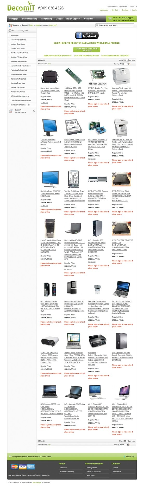 Decom IT Refurbished Computer Store built in Magento eCommerce