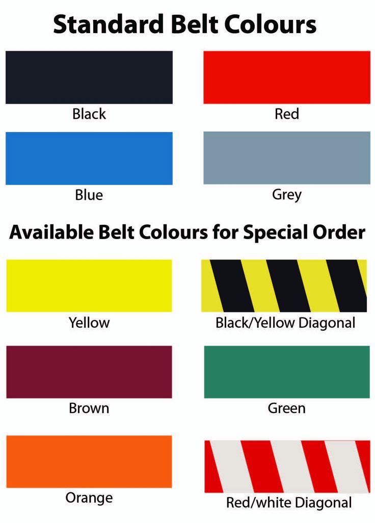 Available Cassette Belt Colours - 3 Metre Retractable stanchion