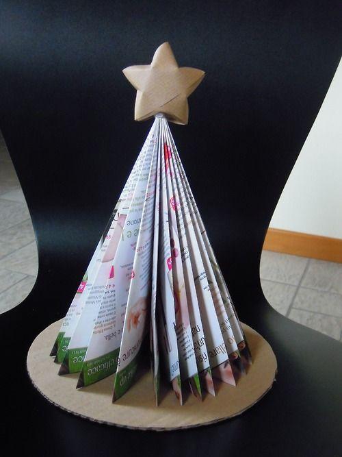 Creando si cresce e crescendo si crea Albero di Natale con una rivista e stella in carta da pacco con origami