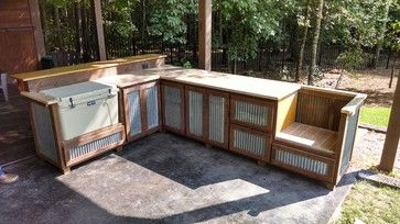 This would be so cool outside when we do our new deck, but replace the cooler with something more interesting.