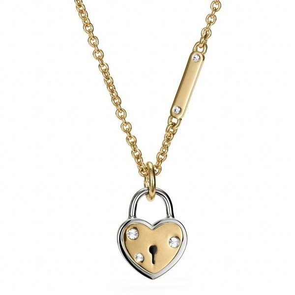 Coach Heart Locket Necklace ($78) ❤ liked on Polyvore featuring jewelry, necklaces, accessories, glitter jewelry, coach jewelry, locket jewelry, heart locket and coach necklace