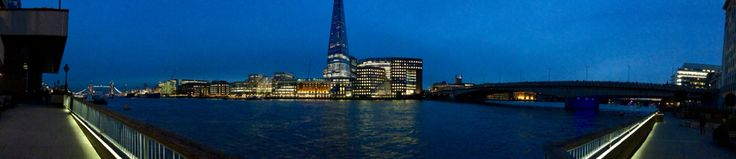 Panoramic view of the river Thames including the shard, the tower bridge and the London bridge